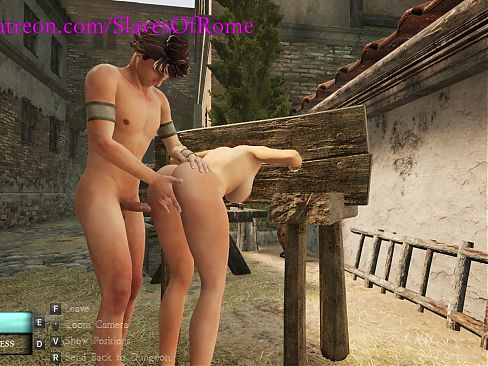 Slaves Of Rome Game- Sex Slave Gets Fucked in Public Pillory