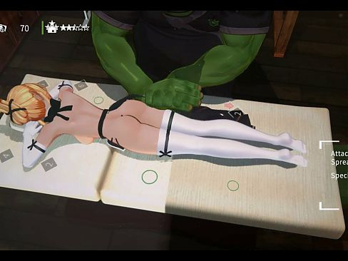 Orc Massage 3D Hentai game Ep.1 Oiled massage on kinky elf